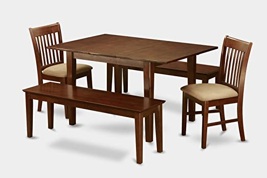 East West Furniture MLNO5C-MAH-C 5-Piece Dinette Table Set