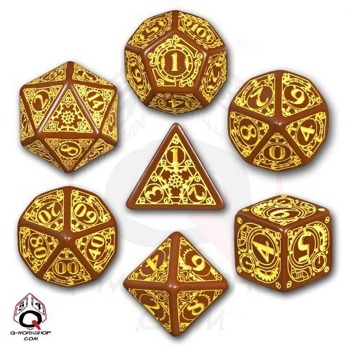 Q-Workshop Polyhedral 7-Die Set: Carved Steampunk Dice Set (Brown & Yellow)