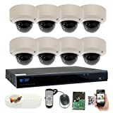 GW Security 8 Channel 5 Megapixel 5 in 1 DVR + 8 x HD-TVI 5MP 1920P Vari-Focal Zoom Outdoor / Indoor CCTV Dome Security Camera System with Pre-Installed 3TB Hard Drive