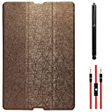DMG Premium Slim Fit Tri Fold Stand Book Cover Case For HTC Google Nexus 9 (Brown) + AUX Cable + Stylus