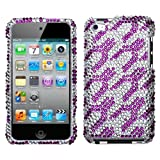 MYBAT Unique Diamante Protective Case for iPod touch 4 (Purple White Rocket)