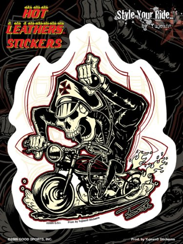 """Hot Leathers - Biker Skeleton decalcomania Sticker - 6x8"""" - Weather Resistant, Long Lasting for Any Surface"""