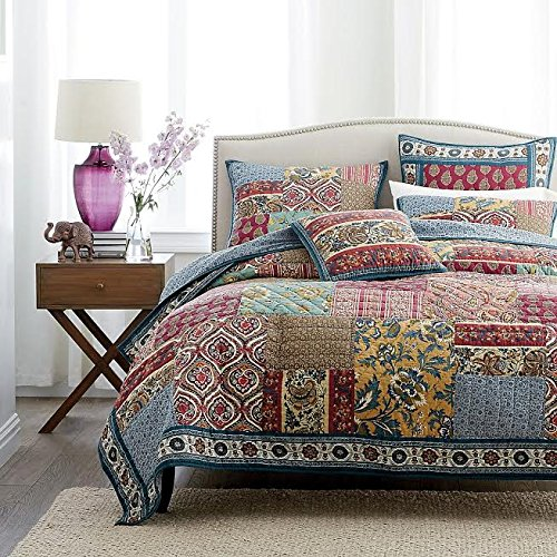Dada Bedding Collection Reversible Bohemian Real Patchwork 100 Cotton Dark Elegance Floral