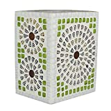 EarthenMetal Handcrafted Cubical Shaped White & Green Crystal Decorated Glass Table Lamp