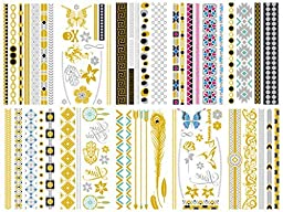 10 Premium Sheets of Metallic Gold, Silver, Turquoise, Pink and Multi-Color, Multi Design Temporary Flash Tattoos