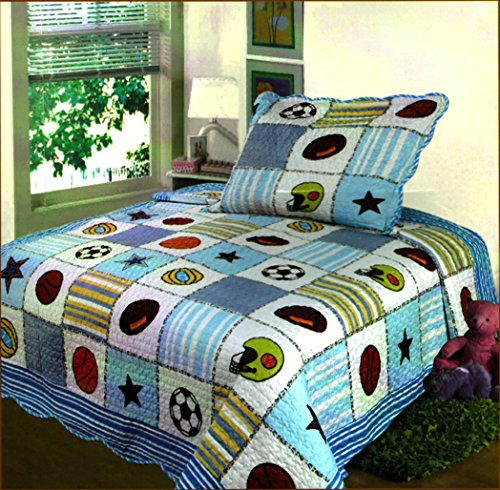 Review Fancy Collection 2 Pc Bedspread Boys Sport Football Basketball Baseball Soccer Star New 010 T...