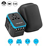 International Travel Power Adapter, Hyleton Worldwide Travel Plug Adapter with 5.6A High Speed Charging 4 USB Ports and 1 Type C Port for US, EU,UK,AU,Asia (lxc-blue) (Color: Black+Blue)