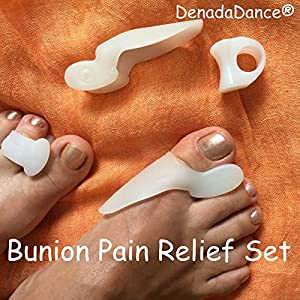 #1 Bunion Relief - 2 Big Toe Protectors & 2 Toe Spacers For Bunions Treatment ★ Universal One Size Bunion Shield / Pad Is Perfect Aid For Hallux Valgus Pain Alleviation ★ Effective Gel Toe Separators / Spacers / Straightener / Spreader For Crooked Toes Alignment & Big Toe Joint Pain Relief ★ Soothe Your Sore Feet, Ease Foot Pain and Prevent Bunion Surgery ★ Best Lifetime DenadaDance® GUARANTEE