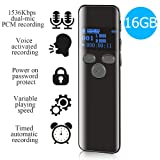 16GB Digital Voice Activated Recorder for Lectures - 2019 Aiworth 1160 Hours Sound Audio Recorder Dictaphone Voice Activated Recorder Recording Device with Playback,MP3 Player,Password,Variable Speed (Color: Black)