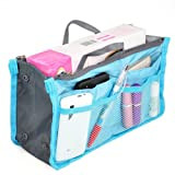 Large Purse Organizer Insert Handbag Pouch Tidy & Neat (Ships From USA) (blue)