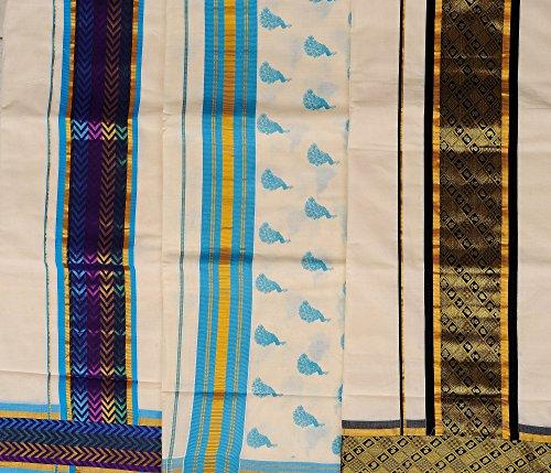 Exotic India Lot of Three Handwoven Kasavu Sarees from Kerala w - Multi-Coloured
