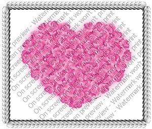 1/8 Sheet ~ Romantic Valentine's Day Rose Heart ~ Edible Image Cake/Cupcake Topper!!!