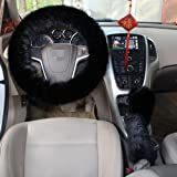 1 Set 3 Pcs Steering Wheel Cover Faux Wool Hand Brake Set Warm Winter (Black)