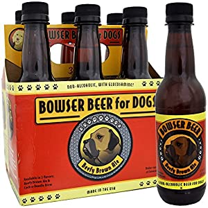 Bowser Beer Beefy Brown Ale for Dogs, 12-Ounces, Non-Alcoholic, 6-Pack