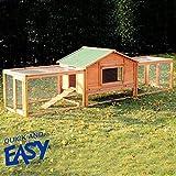 "Polar Aurora 122""*27""*34""Large Wooden Rabbit Hutch Chicken Coop Pet House Habitat with Double Ramp Run"