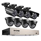 ZOSI 8CH Security Camera System Full 1080P HD-TVI Video DVR Recorder with (8) 2.0MP 1920TVL Bullet/Dome Weatherproof CCTV Cameras NO Hard Drive,Motion Alert, Smartphone, PC Easy Remote Access (Tamaño: 8CH+8Camera)
