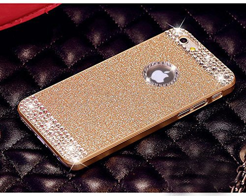 Vproof(TM) iPhone 6 Plus Case , Luxury Hybrid PC Hard Shiny Bling Glitter Sparkle With Crystal Rhinestone [Artificial Diamond] Cover Case For iPhone 6 Plus [5.5 Inch] (Gold+Crystal Rhinestone)