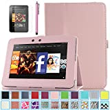 Kindle Fire HD 7.0 Case - ULAK Slim Fit PU Leather Standing Protective Cover with Auto Sleep/Wake Feature for Amazon Kindle Fire HD 7.0 Inch 2012 Gen with Screen Protector, Pink