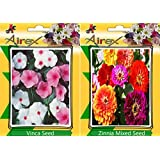 Airex Vinca & Zinnia Mixed Flower Seeds ( Pack Of 15 Seeds Per Packet)