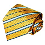 LORENZO CANA Luxury Tie Jacquard Woven Italian Silk Handmade Necktie Ties - Yellow Striped Pattern