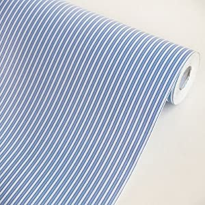 Blue stripes vinyl self adhesive wallpaper for Pre adhesive wallpaper