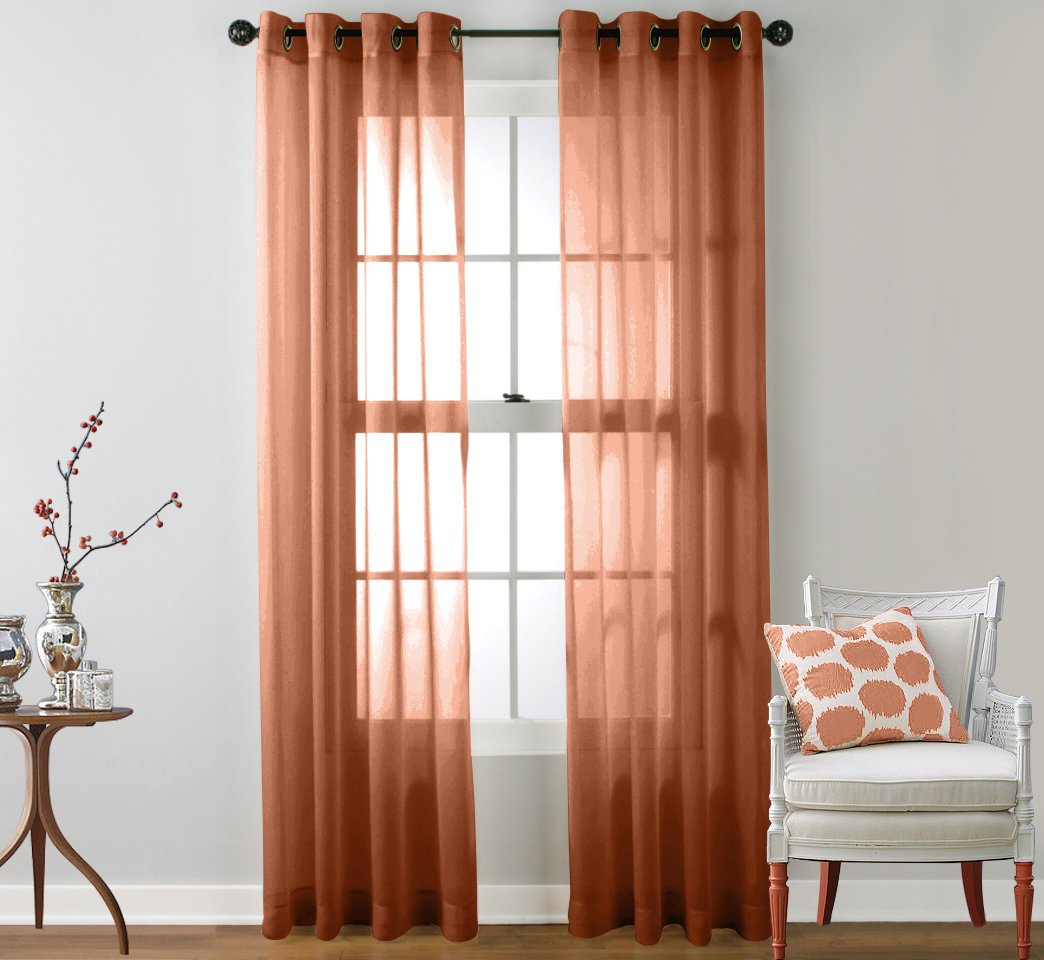 HLC.ME 2 Piece Sheer Curtain Grommet Panels (Rust) at Sears.com