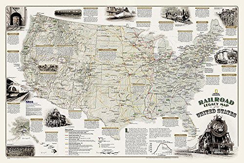 Railroad Legacy Map of the United States [Boxed] (National Geographic Reference Map) (Railway Maps Of The World compare prices)