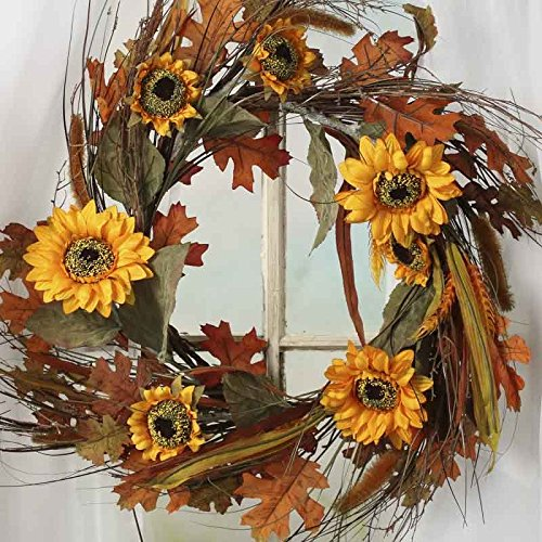 Factory Direct Craft® Harvest Meadow Artificial Sunflower and Wheat Wreath for Home Decor, Crafting and Displaying