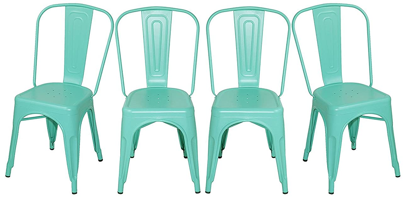 Merax Solid Metal Bar Dining Chairs Steel Back Chairs, Antique Blue, Set of 4 0