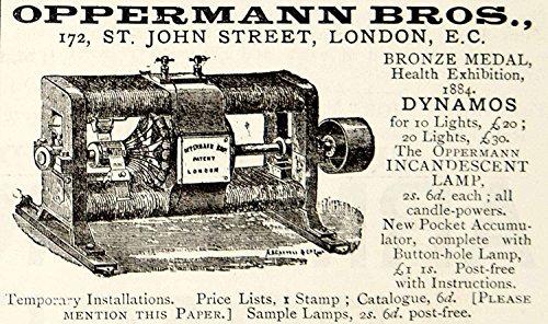 1885 Ad Oppermann Bros Dynamo Electric Generator 1884 Health Exhibition Ynm4 - Original Print Ad