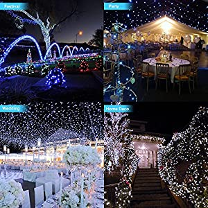 [200 LED 8 Modes] Solar Starry String Lights, ieGeek Solar Fairy Lights Ambiance Lighting 200 LED 72FT for Garden, Home, Dancing, Party, Wedding, Christmas, Bedroom Window, Indoor & Outdoor - White 72FT from ieGeek
