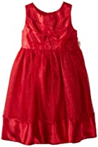 Youngland Girls 2-6X Mesh Satin Occasion Dress, Red, 5