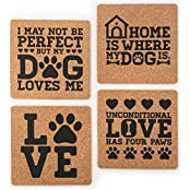 Dog Lover Gift Cork Coaster Set By Yay Delicious: Home Is Where My Dog Is; Unconditional Love Has Four Paws; I...