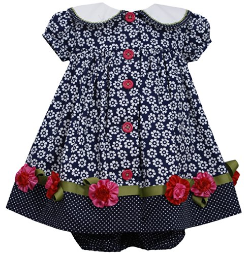 Navy-Blue White Button Front Floral Print Collar Dress Nv1Mt, Navy, Bonnie Jean Baby-Infant Special Occasion Flower Girl Holiday Bnj Social Dress