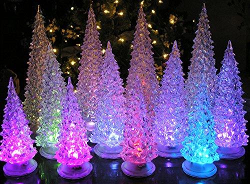 LED Lighted Acrylic Christmas Trees Holiday Decoration Set of 12 Assorted Sizes 10