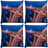 Snoogg Zig Zag Roads At Night Pack Of 4 Digitally Printed Cushion Cover Pillows 12 X 12 Inch