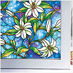 SZT Static Non-Adhesive Window Film Stained Window Film Privacy Window Clings 17.71 inches(Width) by 39.37 inches/78.74 inches/157.4 inches(Length) (35.43 inches by 157.5 inches )
