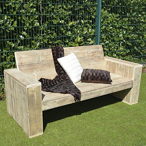Lounge Bank Garten Möbel Bauholz 100x200x80cm natur Kleinmöbel