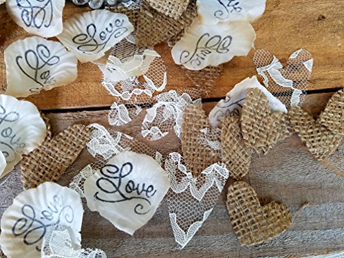 Burlap and Lace Wedding Decorations, Flower Girl Basket petals, Burlap wedding Confetti, Burlap Decor, Aisle rose petals, Wedding Rose Petals, Petal Decorations, Love