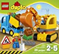 LEGO DUPLO Town 10812 Truck & Tracked Excavator Building Kit (26 Piece) by LEGO
