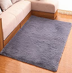 Prettyrug Ultra Soft 4.5 CM Thick Indoor Morden Area Rugs Pads for [Bedroom] [Livingroom] [Sitting-room] [Rugs] [Blanket] [Footcloth] [Blanket] [Footcloth] [Blanket] [Footcloth] (grey, 5080)
