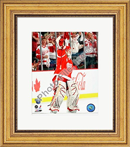 Chris Osgood, first star of Game 1 of the 2008 NHL Stanley Cup Finals; #4 Framed Art Print Wall Picture, Wide Gold Frame with Hanging Cleat, 15 x 17 inches