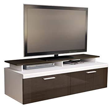 v 0 meuble tv bas atlanta atlanta en blanc mat. Black Bedroom Furniture Sets. Home Design Ideas