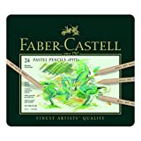 Faber-Castel FC112124 Pitt Pastel Pencils in A Metal Tin (24 Pack), Assorted (Color: Assorted)