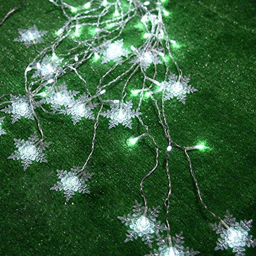 Fuloon 8 Modes 2 Meter x 1 Meter 104PCS LED Snowflake Shape LED Fairy Light Curtain Light (White)
