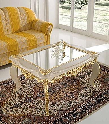 Tavolino classico da salotto intagliato a foglia avorio/oro soggiorno