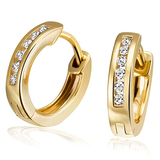 Goldmaid Women's Earrings Yellow Gold 12 Zirconia 8ct