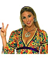 Forum Novelties Hippie Peace Sign Necklace and Earrings