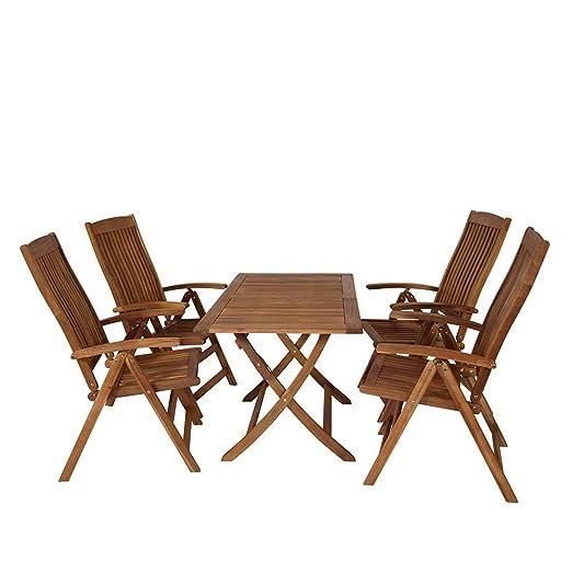 Terrassensitzgruppe aus Akazie Massivholz klappbar (5-teilig) Pharao24