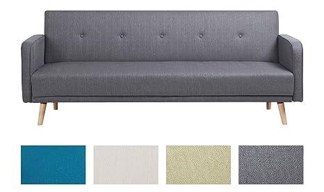 CLP Klapp-Sofa / Schlafsofa EBBA, Stoffbezug, ca. 200 x 80 cm, stilvolle Zierknöpfe, dicke Polsterung, Couch mit Liegefunktion, FARBWAHL grau